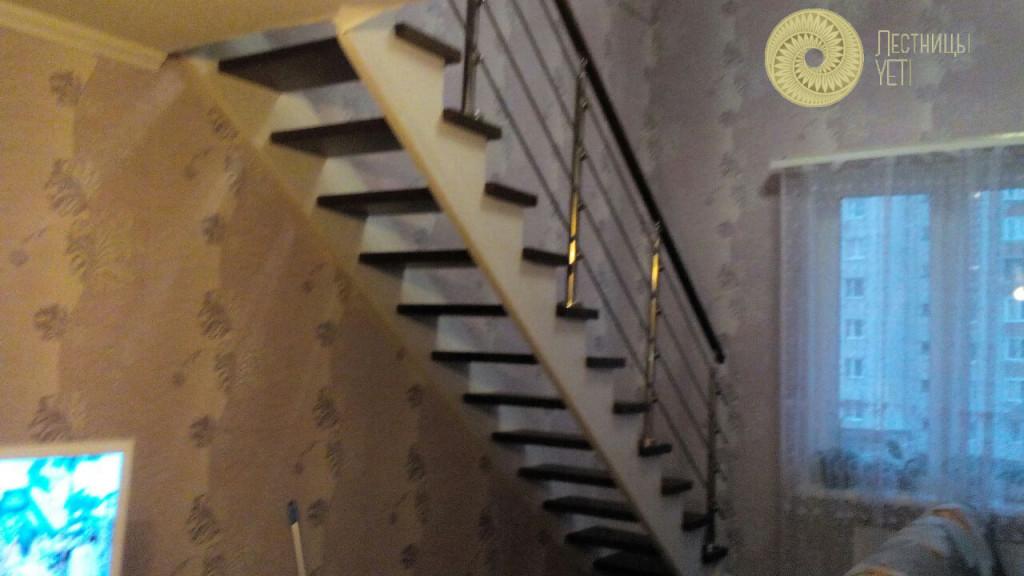 комбинированная лестница с ограждением из нержавейки
